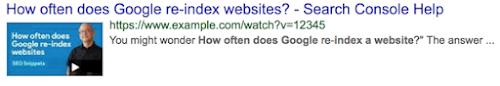 基本视频搜索结果示例